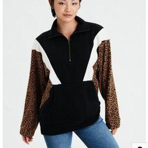 AEO color block animal print sweater